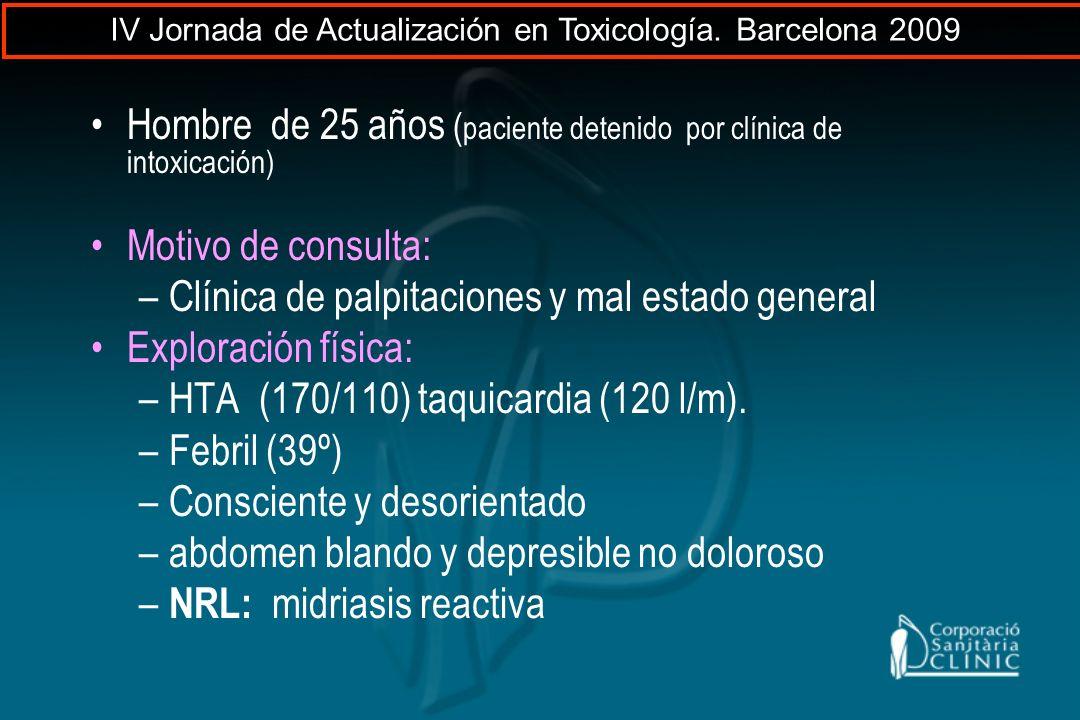 Hombre de 25 años ( paciente detenido por clínica de intoxicación) Motivo de consulta: –Clínica de palpitaciones y mal estado general Exploración físi