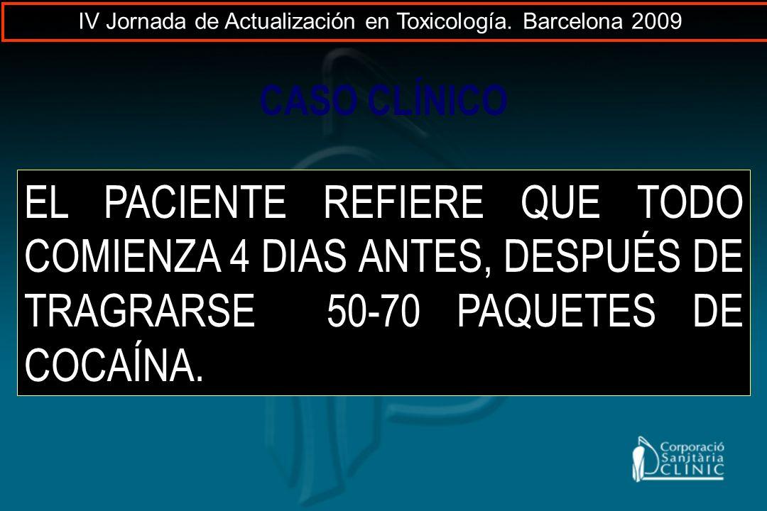 CASO CLÍNICO EL PACIENTE REFIERE QUE TODO COMIENZA 4 DIAS ANTES, DESPUÉS DE TRAGRARSE 50-70 PAQUETES DE COCAÍNA. IV Jornada de Actualización en Toxico