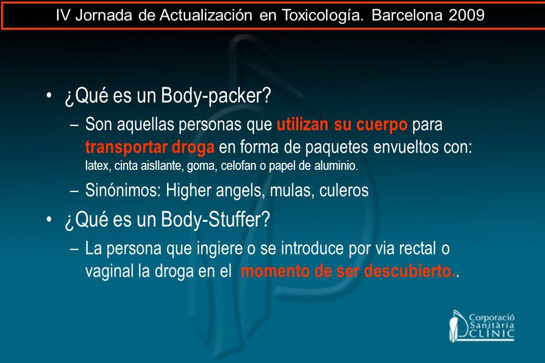 ¿Qué es un Body-packer? –Son aquellas personas que utilizan su cuerpo para transportar droga en forma de paquetes envueltos con: latex, cinta aisllant