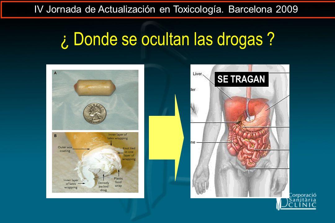 ¿ Donde se ocultan las drogas ? SE TRAGAN IV Jornada de Actualización en Toxicología. Barcelona 2009