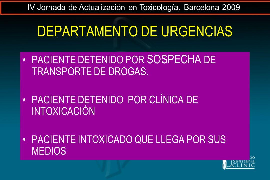 DEPARTAMENTO DE URGENCIAS PACIENTE DETENIDO POR SOSPECHA DE TRANSPORTE DE DROGAS. PACIENTE DETENIDO POR CLÍNICA DE INTOXICACIÓN PACIENTE INTOXICADO QU