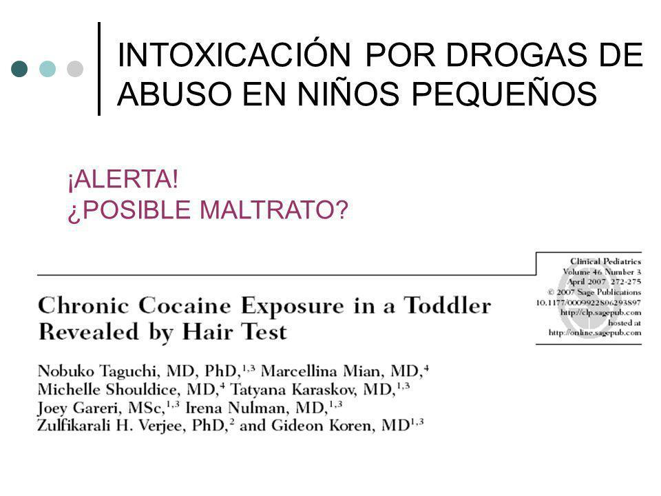 INTOXICACIÓN POR DROGAS DE ABUSO EN NIÑOS PEQUEÑOS ¡ALERTA! ¿POSIBLE MALTRATO?