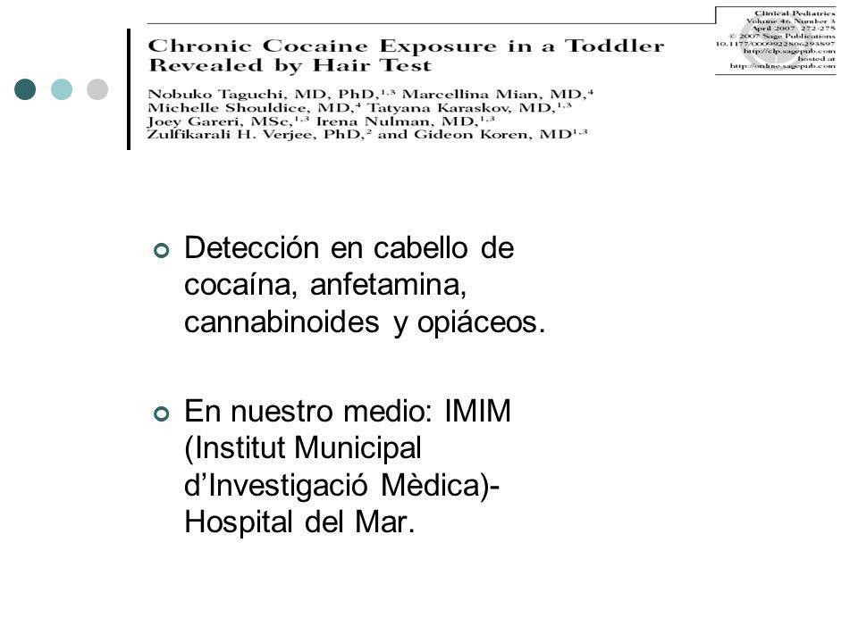 Detección en cabello de cocaína, anfetamina, cannabinoides y opiáceos. En nuestro medio: IMIM (Institut Municipal dInvestigació Mèdica)- Hospital del