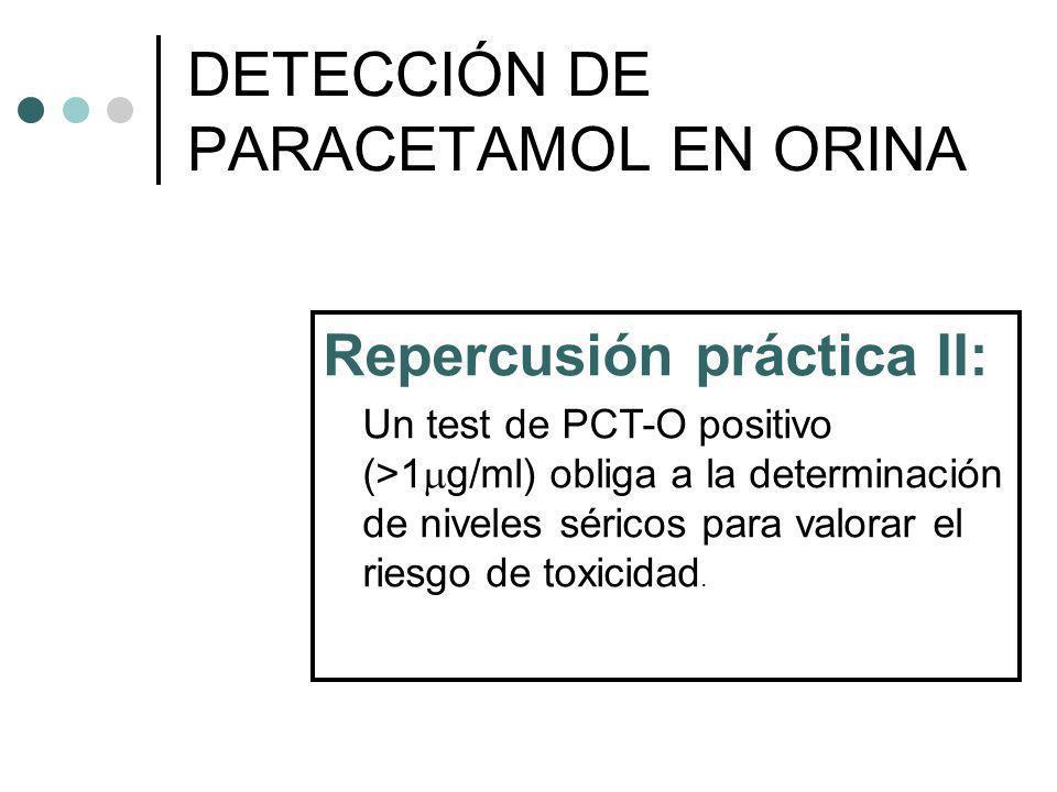 Repercusión práctica II: Un test de PCT-O positivo (>1 g/ml) obliga a la determinación de niveles séricos para valorar el riesgo de toxicidad. DETECCI