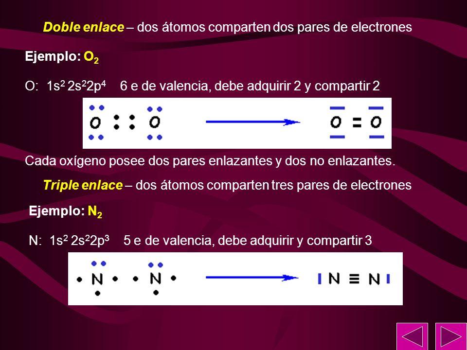 Doble enlace – dos átomos comparten dos pares de electrones Ejemplo: O 2 O: 1s 2 2s 2 2p 4 6 e de valencia, debe adquirir 2 y compartir 2 Cada oxígeno