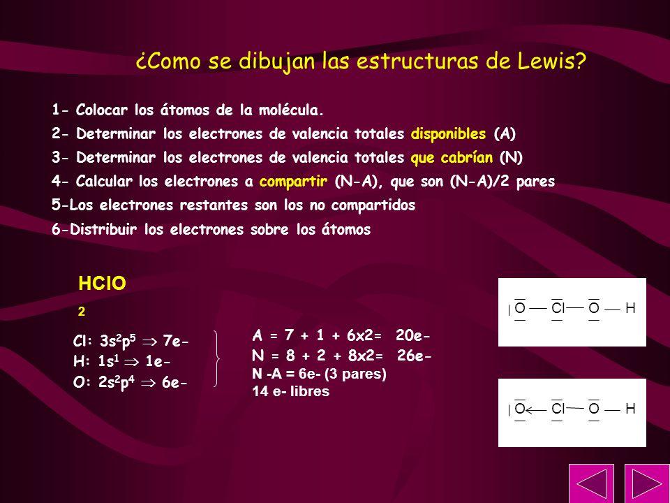 HClO 2 Cl: 3s 2 p 5 7e- H: 1s 1 1e- O: 2s 2 p 4 6e- 1- Colocar los átomos de la molécula. 2- Determinar los electrones de valencia totales disponibles