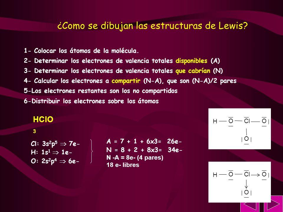 HClO 3 Cl: 3s 2 p 5 7e- H: 1s 1 1e- O: 2s 2 p 4 6e- 1- Colocar los átomos de la molécula. 2- Determinar los electrones de valencia totales disponibles