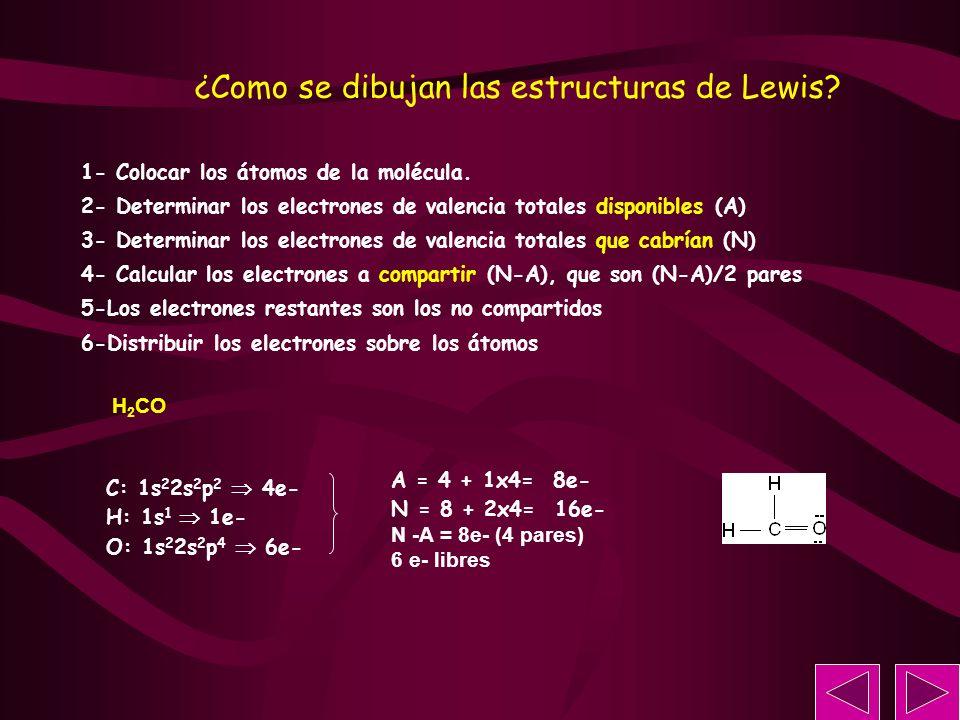 H 2 CO C: 1s 2 2s 2 p 2 4e- H: 1s 1 1e- O: 1s 2 2s 2 p 4 6e- 1- Colocar los átomos de la molécula. 2- Determinar los electrones de valencia totales di