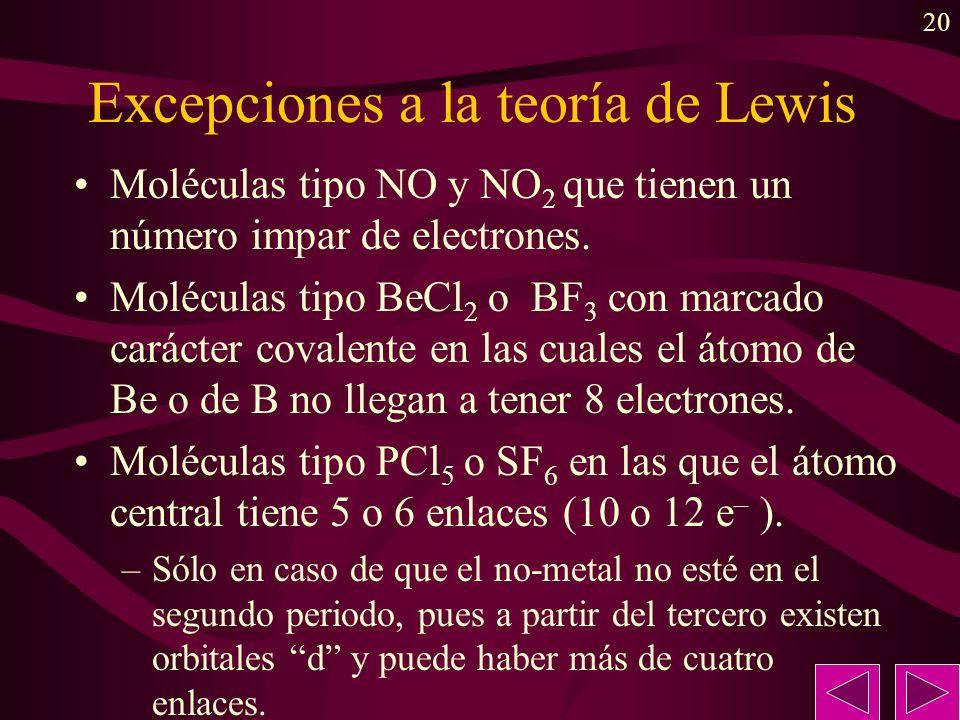 20 Excepciones a la teoría de Lewis Moléculas tipo NO y NO 2 que tienen un número impar de electrones. Moléculas tipo BeCl 2 o BF 3 con marcado caráct