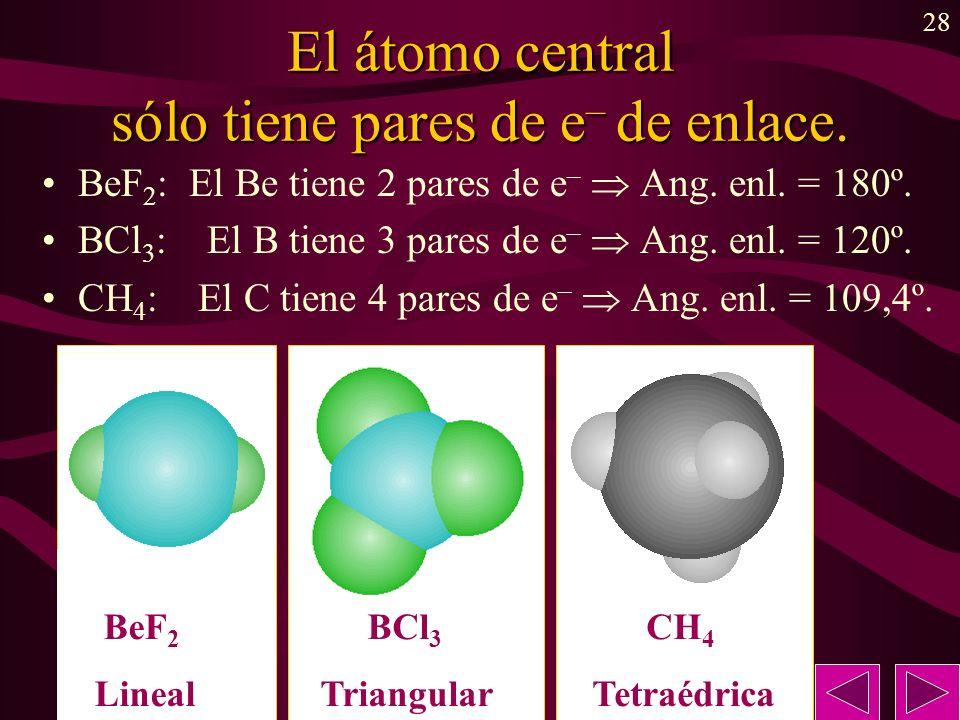 28 El átomo central sólo tiene pares de e – de enlace. BeF 2 : El Be tiene 2 pares de e – Ang. enl. = 180º. BCl 3 : El B tiene 3 pares de e – Ang. enl