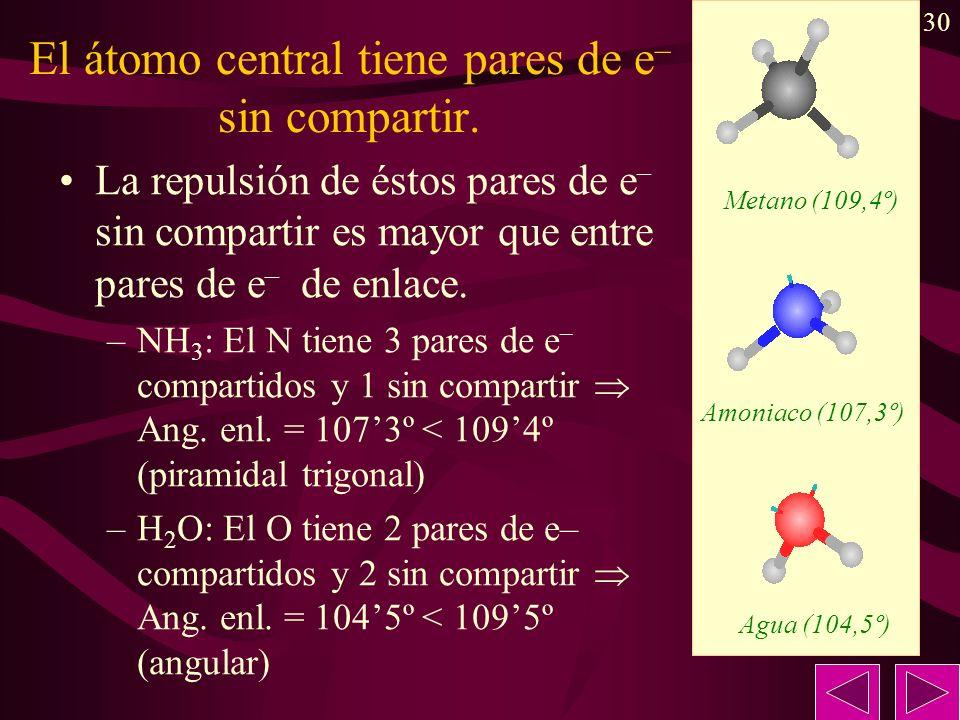 30 El átomo central tiene pares de e – sin compartir. La repulsión de éstos pares de e – sin compartir es mayor que entre pares de e – de enlace. –NH