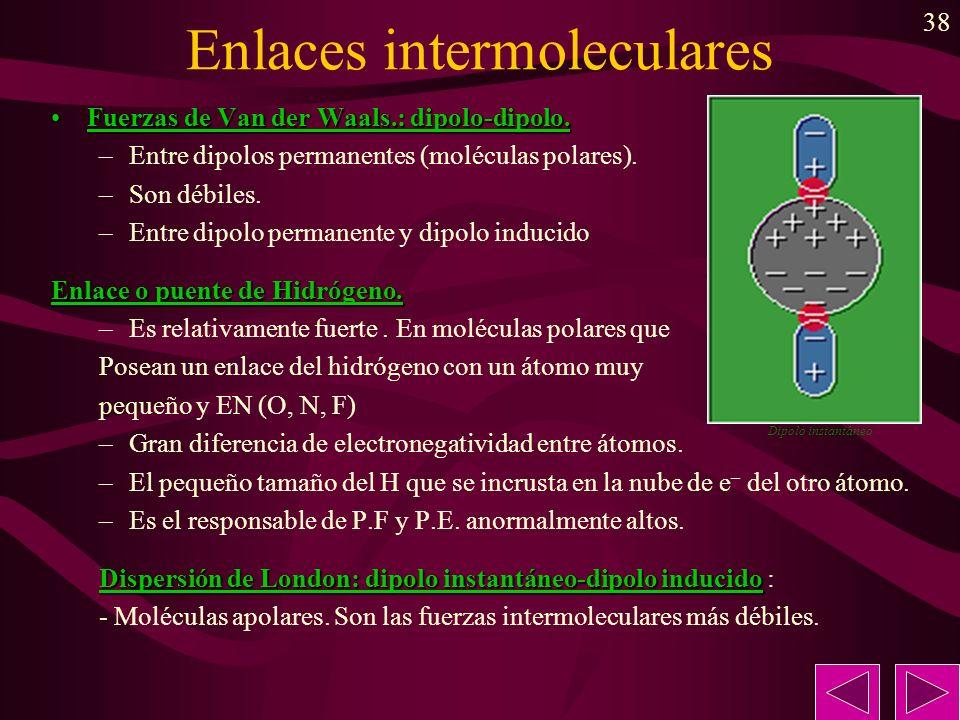 38 Enlaces intermoleculares Fuerzas de Van der Waals.: dipolo-dipolo.Fuerzas de Van der Waals.: dipolo-dipolo. –Entre dipolos permanentes (moléculas p