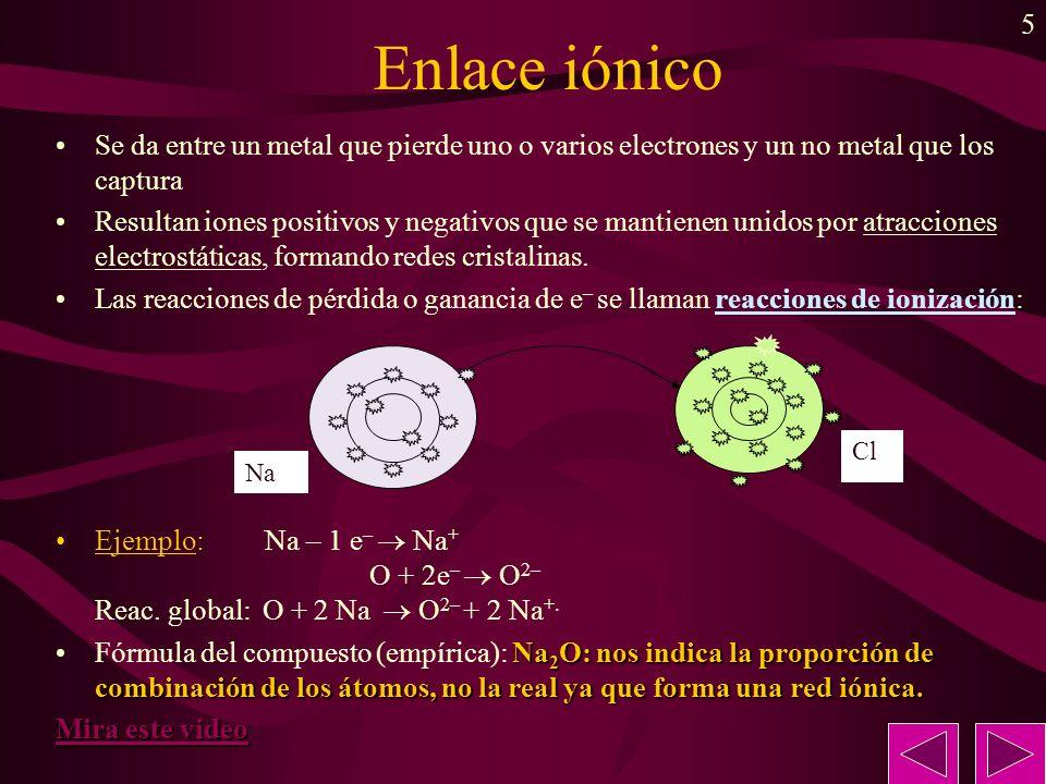 5 Enlace iónico Se da entre un metal que pierde uno o varios electrones y un no metal que los captura Resultan iones positivos y negativos que se mant