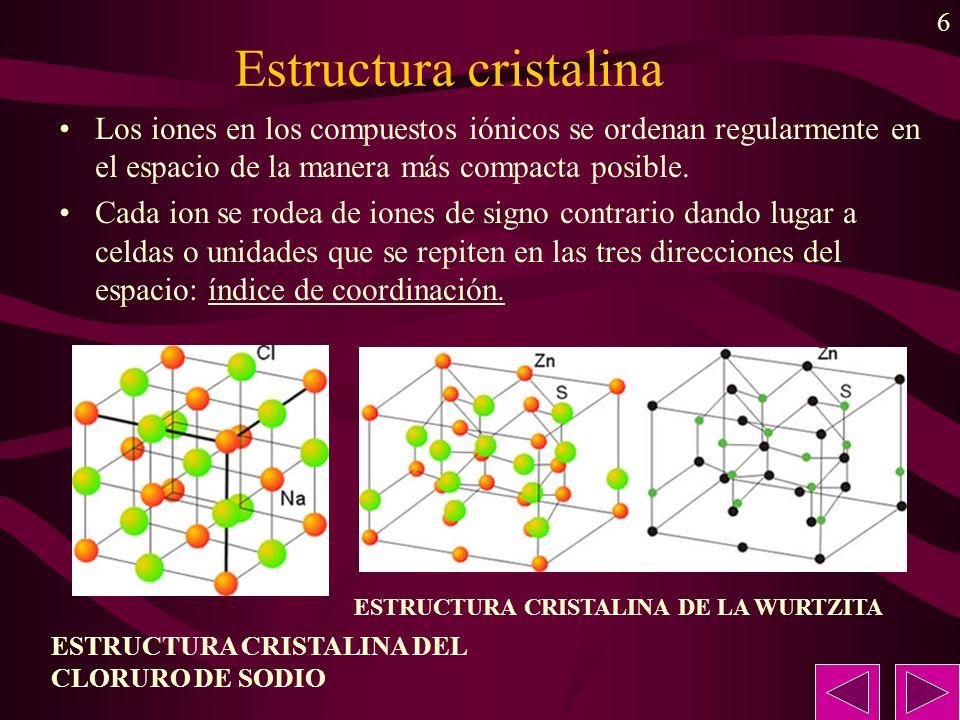 6 Estructura cristalina Los iones en los compuestos iónicos se ordenan regularmente en el espacio de la manera más compacta posible. Cada ion se rodea