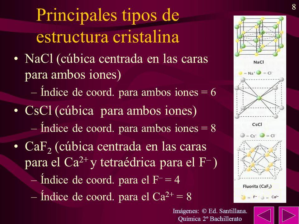 8 F Ca 2+ Principales tipos de estructura cristalina NaCl (cúbica centrada en las caras para ambos iones) –Índice de coord. para ambos iones = 6 CsCl