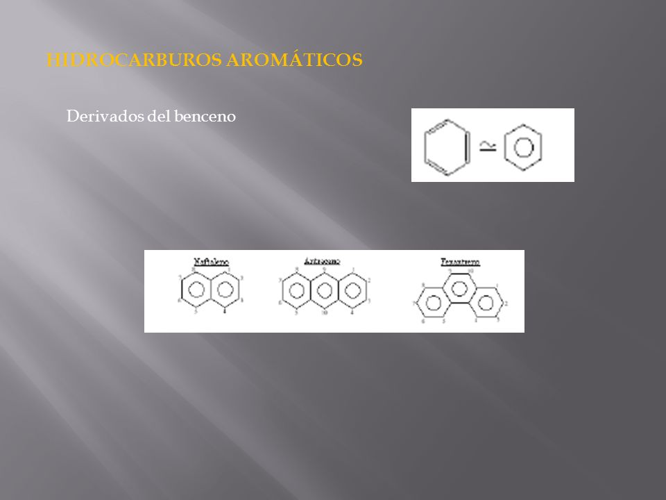 HIDROCARBUROS AROMÁTICOS Derivados del benceno