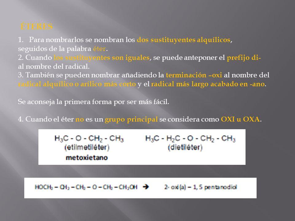 ÉTERES 1.Para nombrarlos se nombran los dos sustituyentes alquílicos, seguidos de la palabra éter. 2. Cuando los sustituyentes son iguales, se puede a