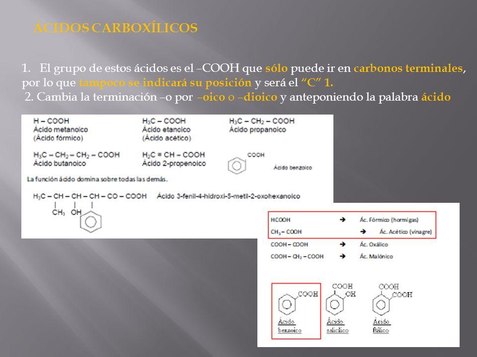 ÁCIDOS CARBOXÍLICOS 1.El grupo de estos ácidos es el –COOH que sólo puede ir en carbonos terminales, por lo que tampoco se indicará su posición y será