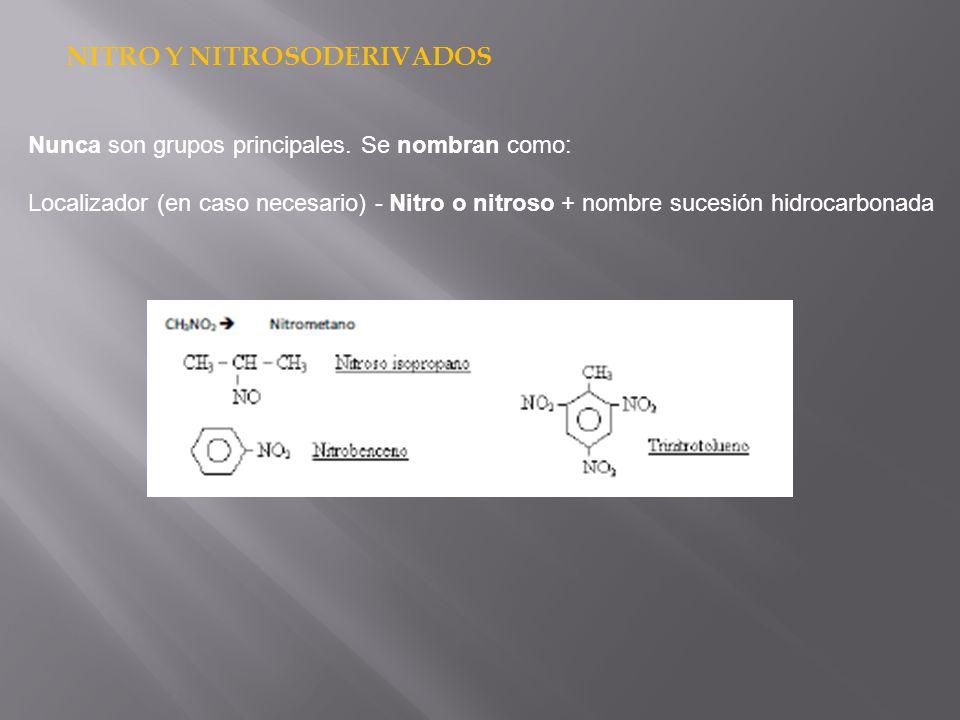 NITRO Y NITROSODERIVADOS Nunca son grupos principales. Se nombran como: Localizador (en caso necesario) - Nitro o nitroso + nombre sucesión hidrocarbo