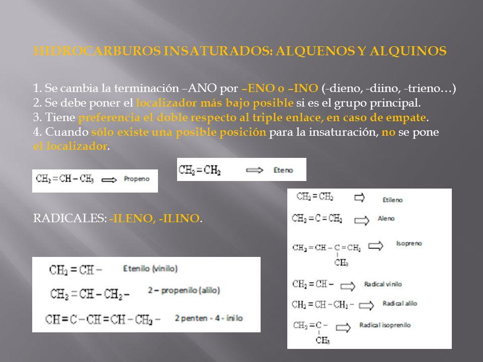 HIDROCARBUROS INSATURADOS: ALQUENOS Y ALQUINOS 1. Se cambia la terminación –ANO por –ENO o –INO (-dieno, -diino, -trieno…) 2. Se debe poner el localiz
