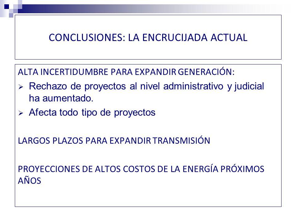 CONCLUSIONES EL PAÍS REQUIERE ALCANZAR ACUERDOS SUSTANTIVOS SOBRE LAS FUENTES DE ENERGÍA LAS EXIGENCIAS AMBIENTALES EL USO DEL TERRITORIO LOS PROCEDIMIENTOS DE CONSULTA CON LAS COMUNIDADES INDÍGENAS SE CUENTA CON ANÁLISIS, INFORMACIÓN Y CAPACIDAD TÉCNICA, PERO… SE REQUIERE UN PROCESO DE DIÁLOGO A NIVEL POLÍTICO Y SOCIAL DE ALTA COMPLEJIDAD, PARA EL CUAL NO EXISTEN PRECEDENTES EN CHILE.