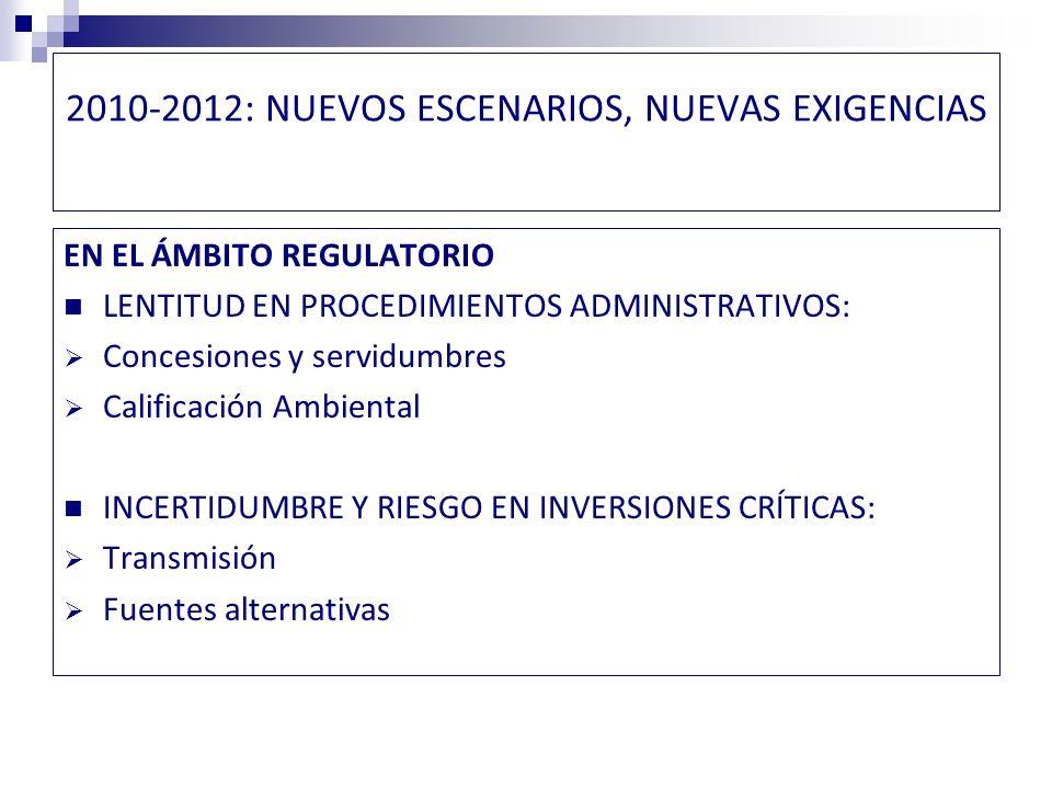 NUEVOS ESCENARIOS, NUEVAS EXIGENCIAS GRANDES INTERROGANTES FUENTES DE ENERGÍA: PARTICIPACIÓN DE ERNC, CARBÓN, HIDROLECTRICIDAD, NUCLEAR, GNL.