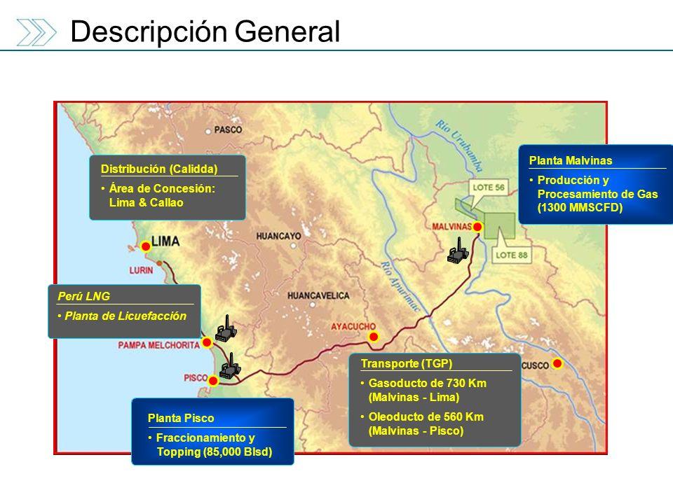 Planta Malvinas Producción y Procesamiento de Gas (1300 MMSCFD) Transporte (TGP) Gasoducto de 730 Km (Malvinas - Lima) Oleoducto de 560 Km (Malvinas -
