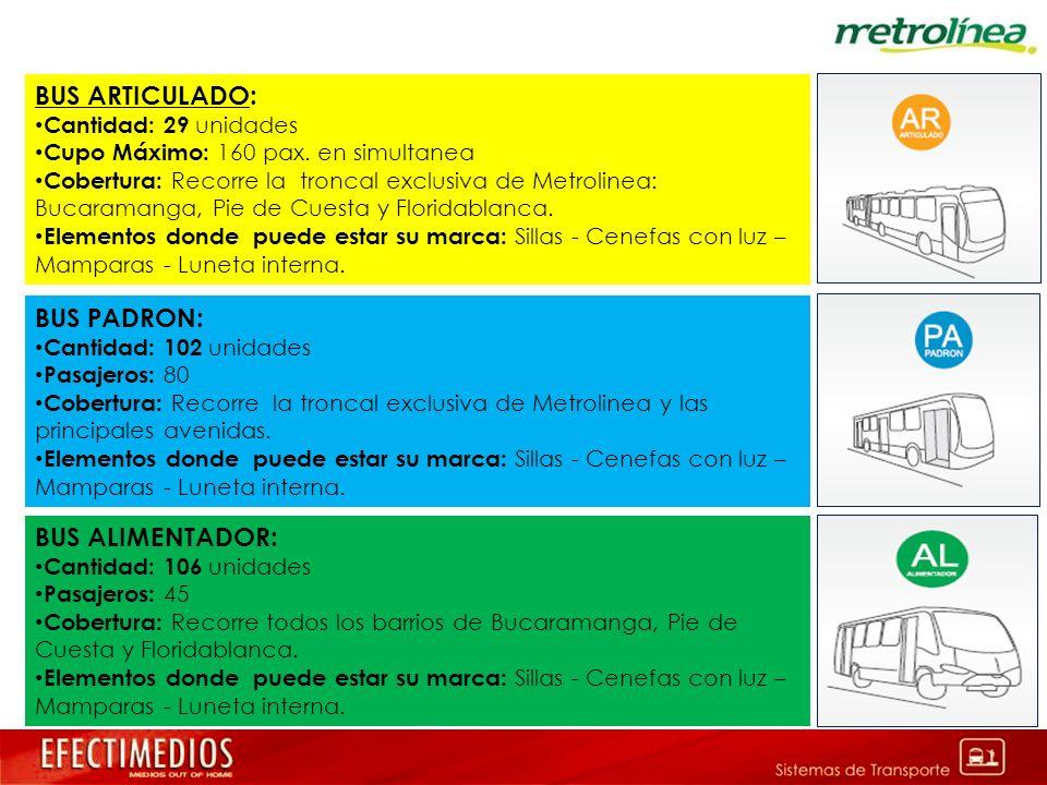 BUS ARTICULADO: Cantidad: 29 unidades Cupo Máximo: 160 pax. en simultanea Cobertura: Recorre la troncal exclusiva de Metrolinea: Bucaramanga, Pie de C