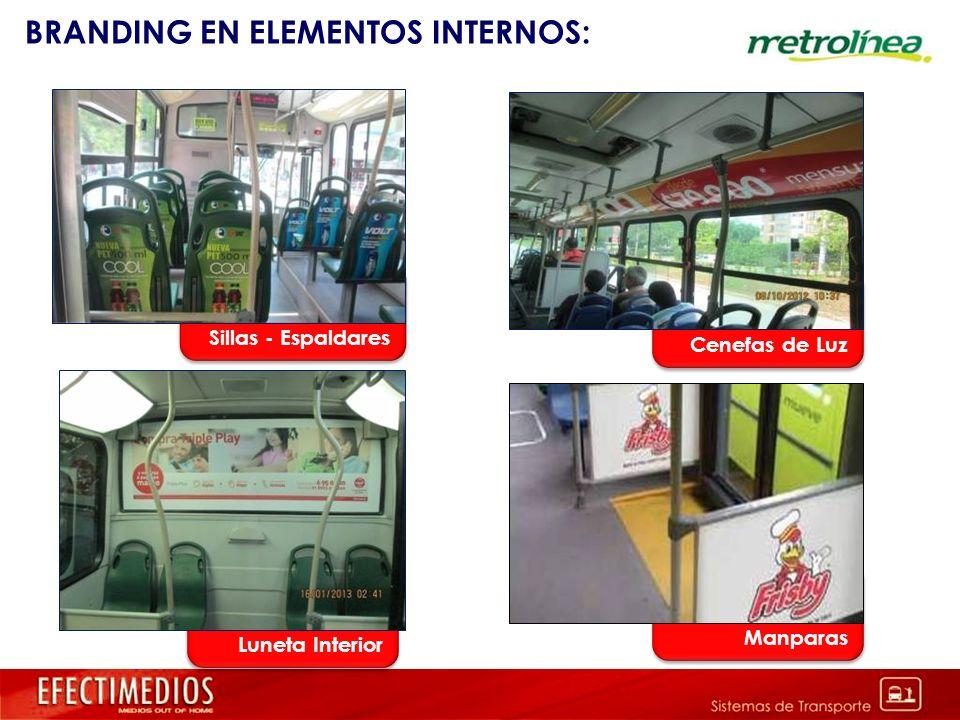 BRANDING EN ELEMENTOS INTERNOS: Cenefas de luz Cenefas de Luz Manparas Luneta Interior Sillas - Espaldares