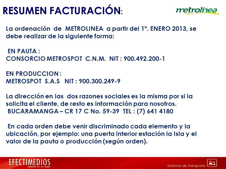 RESUMEN FACTURACIÓN : La ordenación de METROLINEA a partir del 1º. ENERO 2013, se debe realizar de la siguiente forma: EN PAUTA : CONSORCIO METROSPOT
