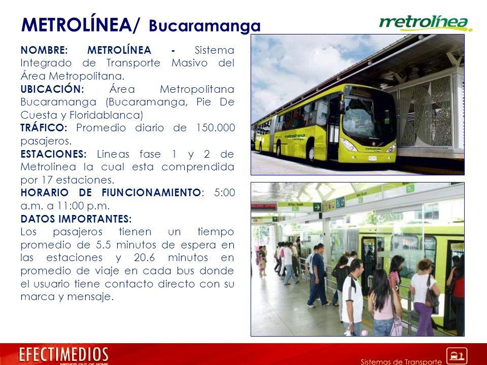 METROLÍNEA/ Bucaramanga NOMBRE: METROLÍNEA - Sistema Integrado de Transporte Masivo del Área Metropolitana. UBICACIÓN: Área Metropolitana Bucaramanga