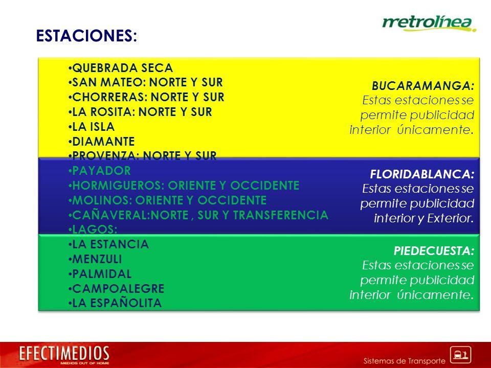 FLORIDABLANCA: Estas estaciones se permite publicidad interior y Exterior. FLORIDABLANCA: Estas estaciones se permite publicidad interior y Exterior.