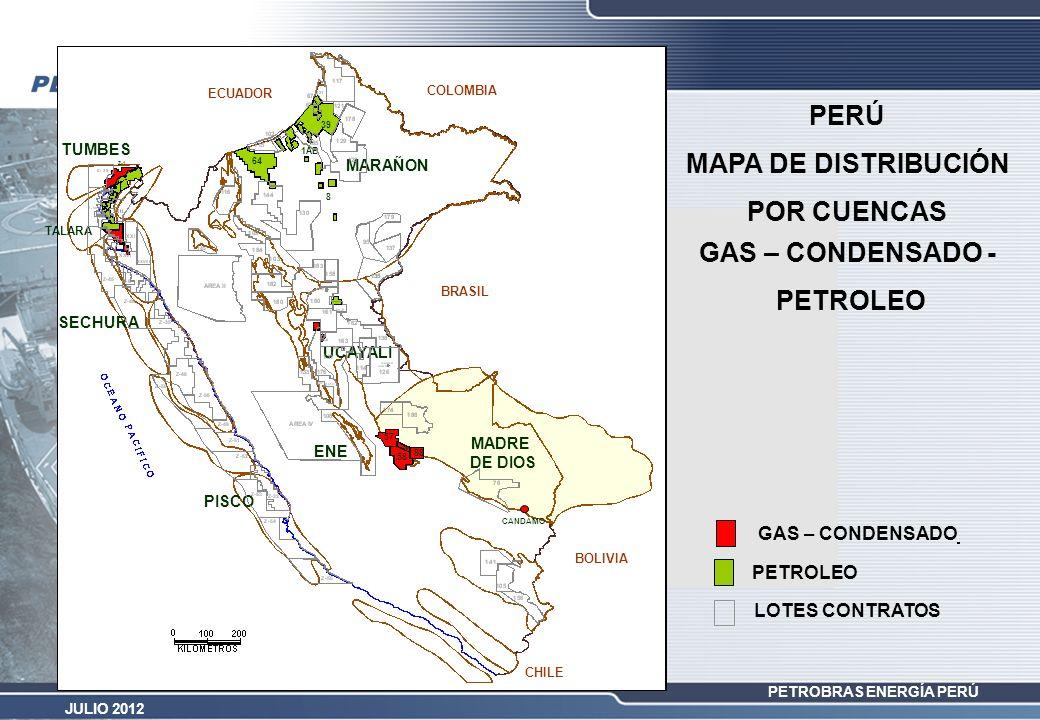 PETROBRAS ENERGÍA PERÚ JULIO 2012 GAS – CONDENSADO 58 57 88 56 Z-1 PETROLEO 39 1AB 8 64 GAS – CONDENSADO - PETROLEO PERÚ MAPA DE DISTRIBUCIÓN POR CUEN