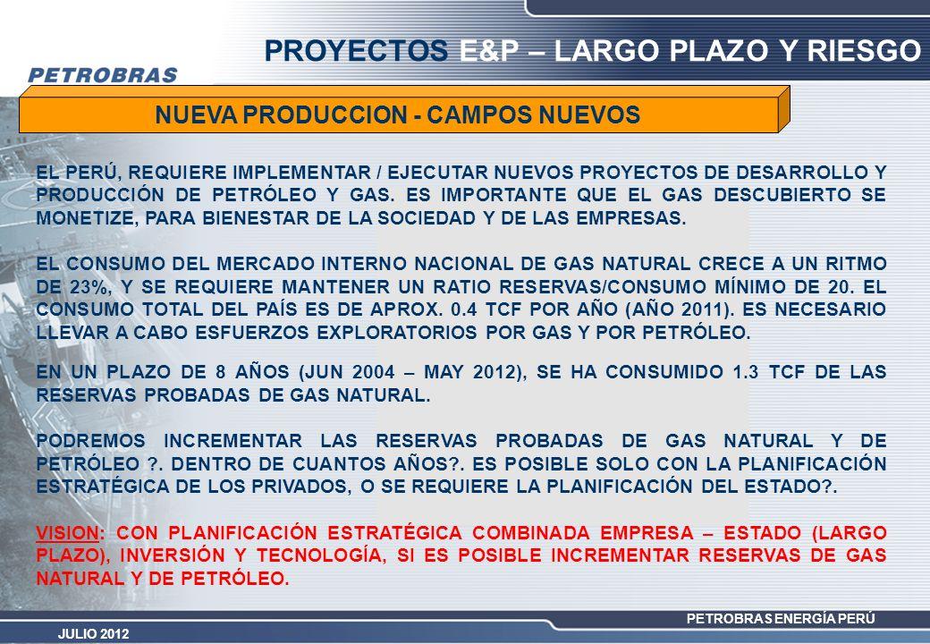 PETROBRAS ENERGÍA PERÚ JULIO 2012 PROYECTOS E&P – LARGO PLAZO Y RIESGO NUEVA PRODUCCION - CAMPOS NUEVOS EN UN PLAZO DE 8 AÑOS (JUN 2004 – MAY 2012), S