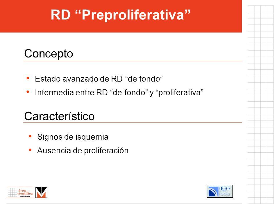 RD Preproliferativa Concepto Característico Estado avanzado de RD de fondo Intermedia entre RD de fondo y proliferativa Signos de isquemia Ausencia de