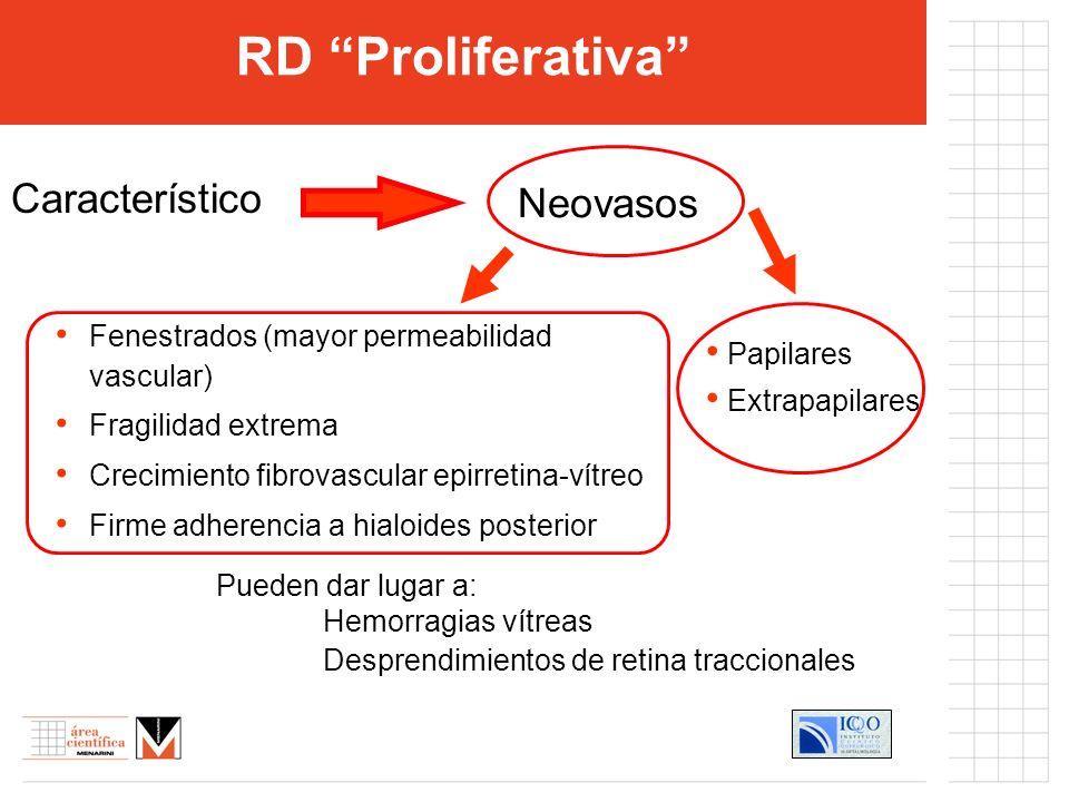 RD Proliferativa Fenestrados (mayor permeabilidad vascular) Fragilidad extrema Crecimiento fibrovascular epirretina-vítreo Firme adherencia a hialoide