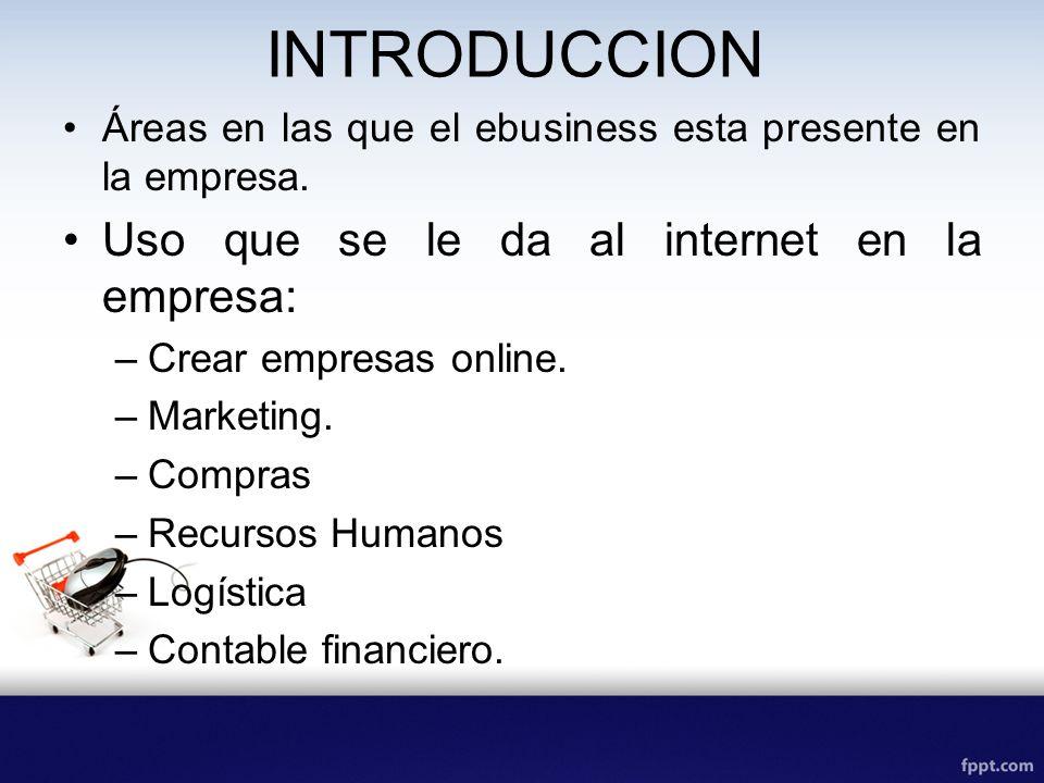 INTRODUCCION Áreas en las que el ebusiness esta presente en la empresa. Uso que se le da al internet en la empresa: –Crear empresas online. –Marketing