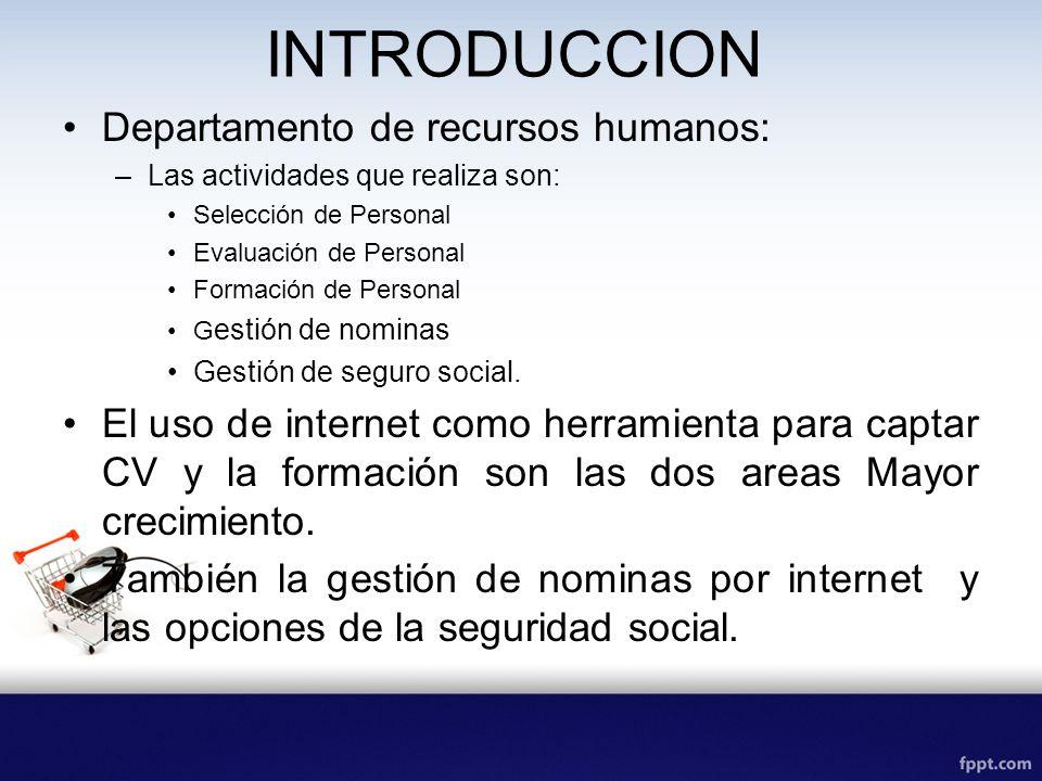 INTRODUCCION Departamento de recursos humanos: –Las actividades que realiza son: Selección de Personal Evaluación de Personal Formación de Personal G