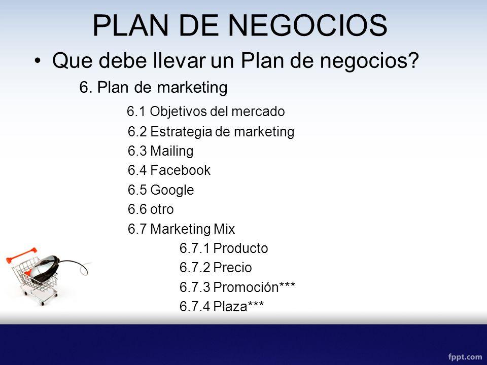 PLAN DE NEGOCIOS Que debe llevar un Plan de negocios.
