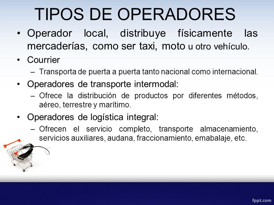 TIPOS DE OPERADORES Operador local, distribuye físicamente las mercaderías, como ser taxi, moto u otro vehículo. Courrier –Transporta de puerta a puer
