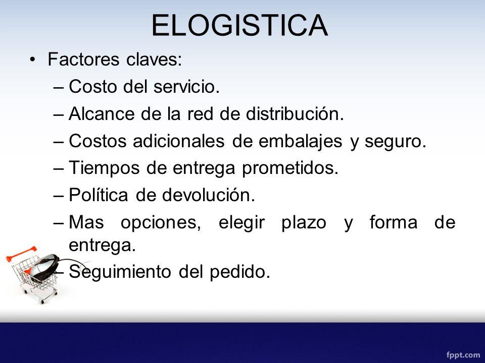 ELOGISTICA Factores claves: –Costo del servicio. –Alcance de la red de distribución. –Costos adicionales de embalajes y seguro. –Tiempos de entrega pr