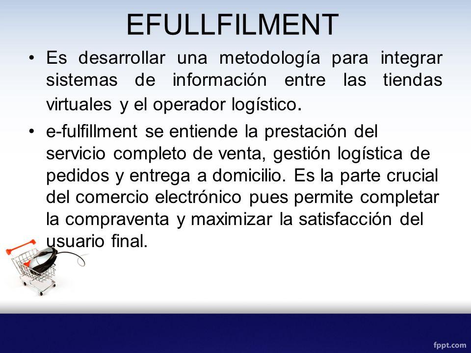 EFULLFILMENT Es desarrollar una metodología para integrar sistemas de información entre las tiendas virtuales y el operador logístico. e-fulfillment s