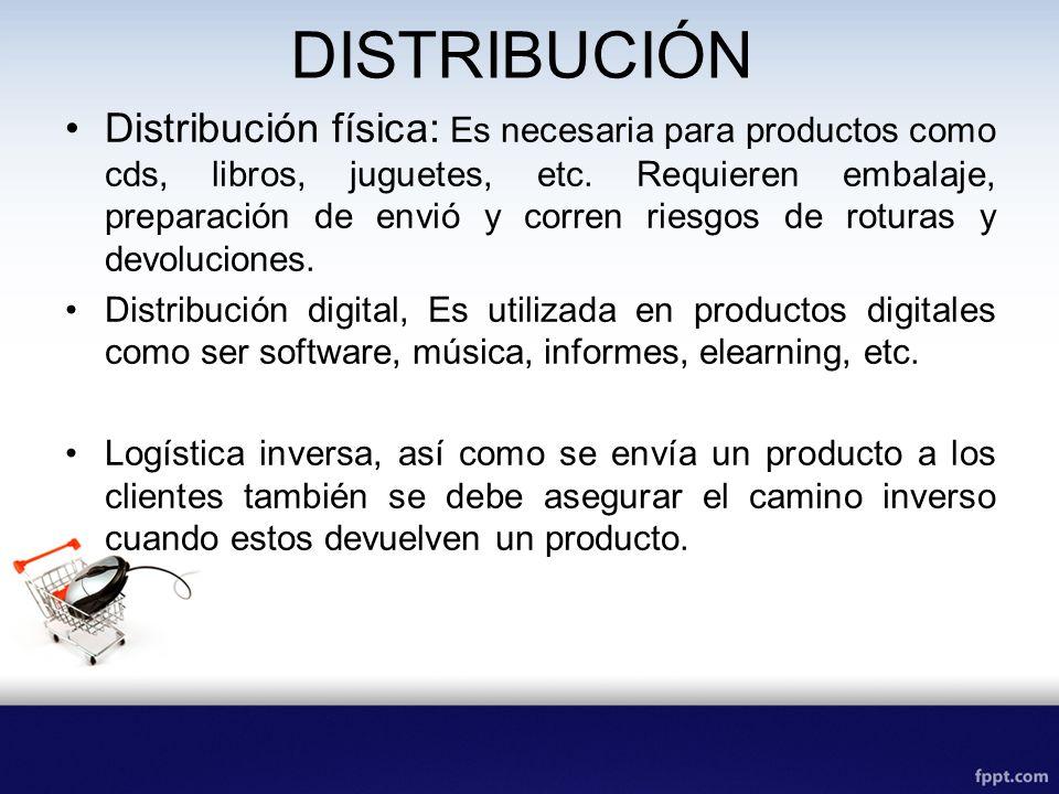 DISTRIBUCIÓN Distribución física: Es necesaria para productos como cds, libros, juguetes, etc. Requieren embalaje, preparación de envió y corren riesg