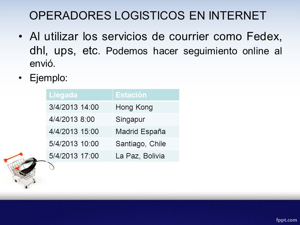 OPERADORES LOGISTICOS EN INTERNET Al utilizar los servicios de courrier como Fedex, dhl, ups, etc. Podemos hacer seguimiento online al envió. Ejemplo: