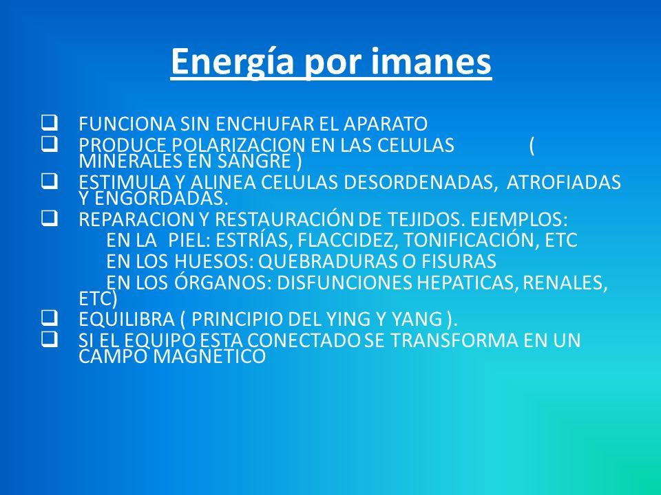 FUNCIONA SIN ENCHUFAR EL APARATO PRODUCE POLARIZACION EN LAS CELULAS ( MINERALES EN SANGRE ) ESTIMULA Y ALINEA CELULAS DESORDENADAS, ATROFIADAS Y ENGORDADAS.