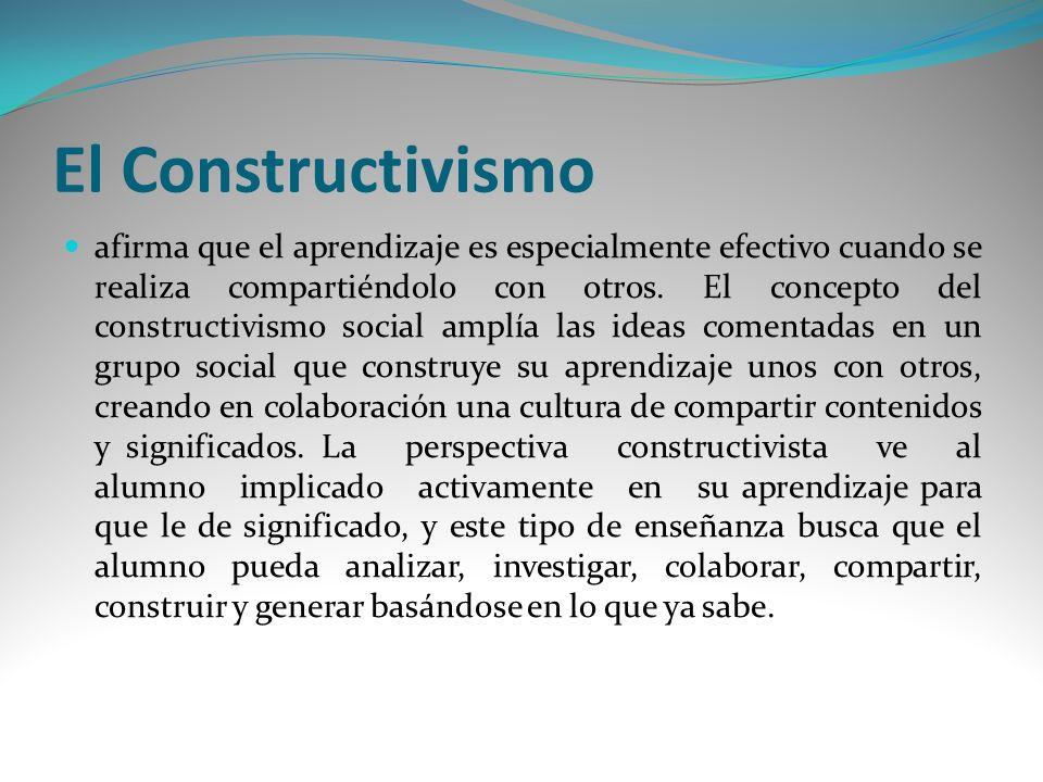 El Constructivismo afirma que el aprendizaje es especialmente efectivo cuando se realiza compartiéndolo con otros. El concepto del constructivismo soc