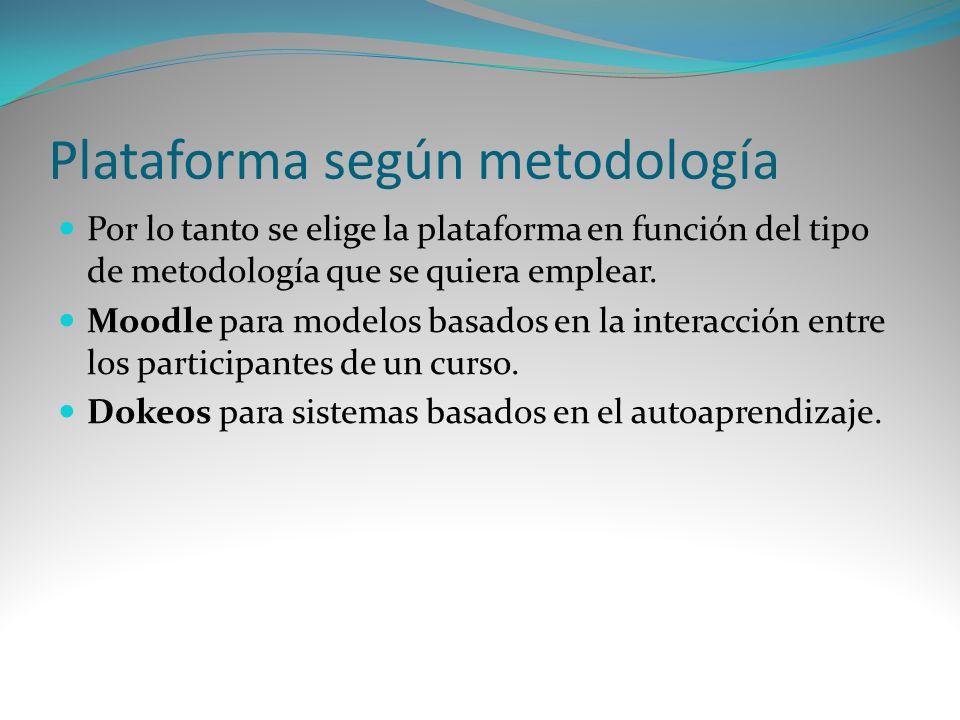 Plataforma según metodología Por lo tanto se elige la plataforma en función del tipo de metodología que se quiera emplear. Moodle para modelos basados