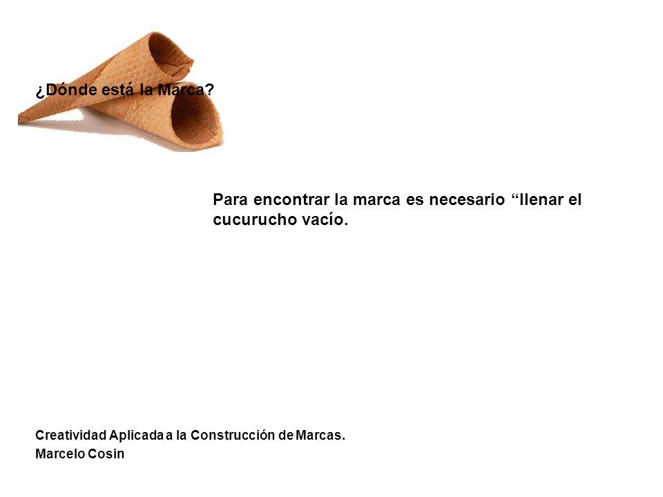 Creatividad Aplicada a la Construcción de Marcas. Marcelo Cosin ¿Dónde está la Marca? Para encontrar la marca es necesario llenar el cucurucho vacío.