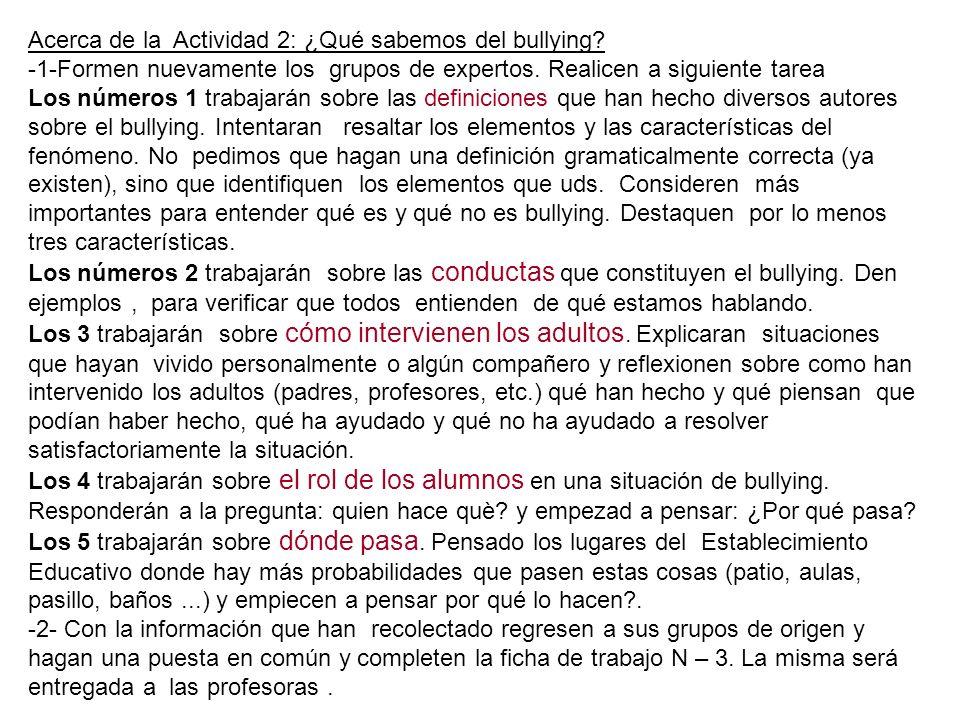 Ficha de trabajo 3: ¿Qué sabemos del bullying.1. La definición que elegimos es esta : 2.