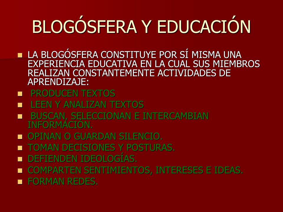 BLOGÓSFERA DENTRO DE INTERNET VIVE UNA COMUNIDAD DINÁMICA DE BLOGS DENOMINADA ECOSISTEMA DE BLOGS O BLOGÓSFERA.